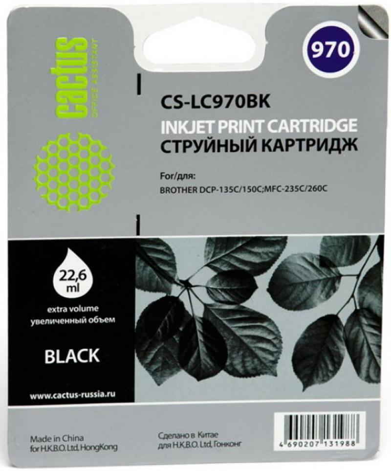 Картридж струйный Cactus CS-LC970BK черный для Brother DCP-135C/150C/MFC-235C/260C (22.6мл) cactus cs i bt5000y yellow чернила для brother dcp t300 dcp t500w dcp t700w mfc t800w
