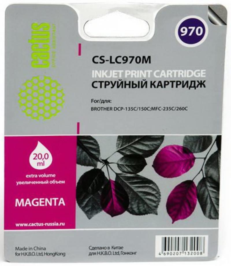 Картридж струйный Cactus CS-LC970M пурпурный для Brother MFC-260c/235c/DCP-150c/135c (20мл)