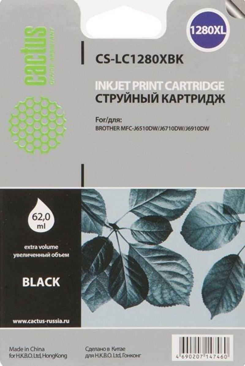 Картридж Cactus LC-1280XBK для Brother MFC-J6510/6910DW черный струйный картридж brother lc1240c голубой для mfc j6510 6910dw