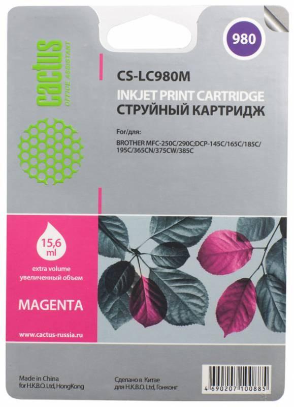 Картридж Cactus LC-980M для Brother DCP-145C/165C MFC-250C/290C пурпурный 260стр cactus lc 980bk brother dcp 145c 165c mfc 250c 290c 300