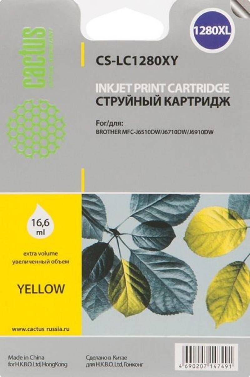 Картридж Cactus LC-1280XY для Brother MFC-J6510/6910DW желтый струйный картридж brother lc1240c голубой для mfc j6510 6910dw