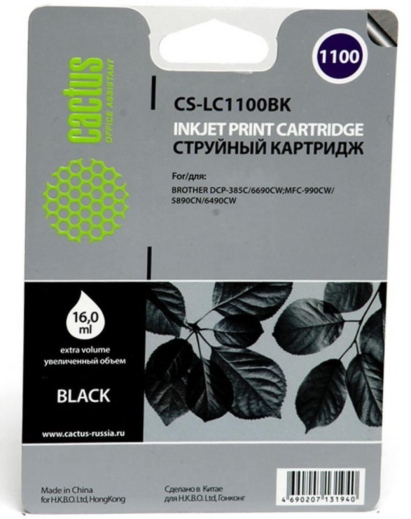Картридж струйный Cactus CS-LC1100BK черный для Brother DCP-385c/6690cw/MFC-990/5890/5895/6490 (16мл