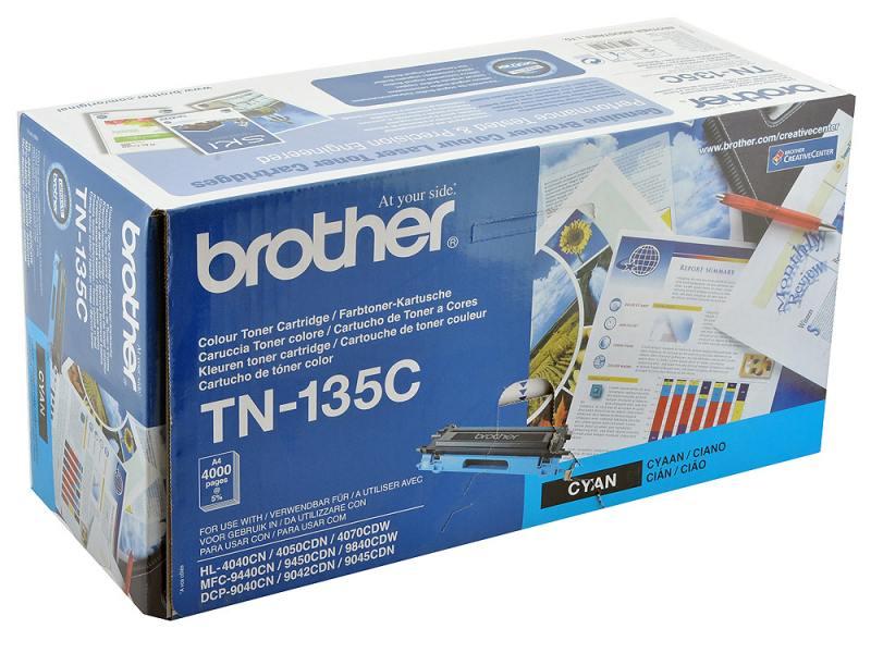 Картридж Brother TN-135C голубой 4000 стр фотобарабан dr4000 brother dr 4000 до 30000 копий dr 4000