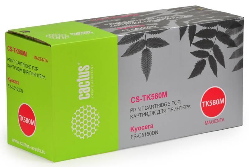 Тонер-картридж Cactus CS-TK580M для Kyocera FS-C5150DN пурпурный 2800стр тонер картридж cactus cs ep22s