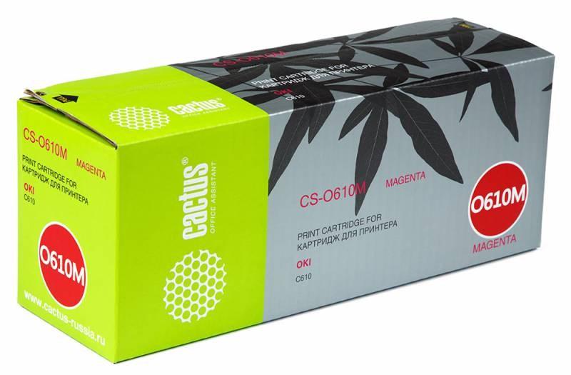 Картридж Cactus CS-O610M для OKI C610 пурпурный 6000стр cactus cs o610y yellow тонер картридж для oki c610