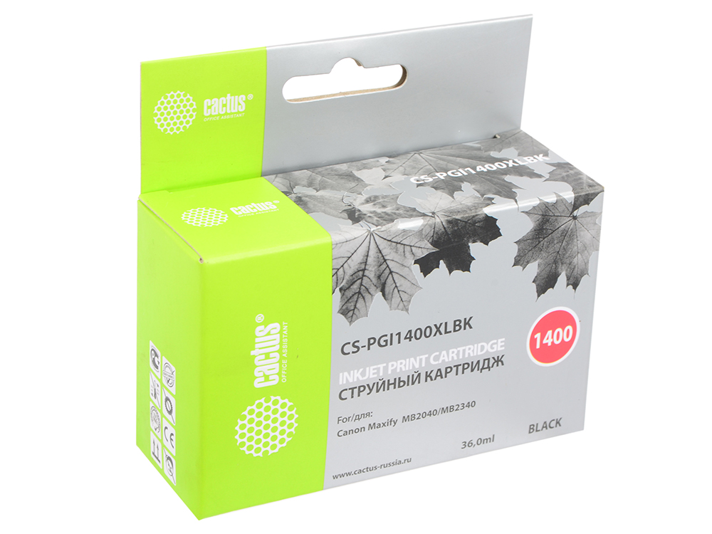 Картридж Cactus CS-PGI1400XLBK для Canon MB2050/MB2350/MB2040/MB2340 черный