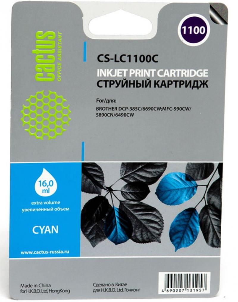 Картридж струйный Cactus CS-LC1100C голубой для Brother DCP-385c/6690cw/MFC-990/5890/5895/6490 (16мл