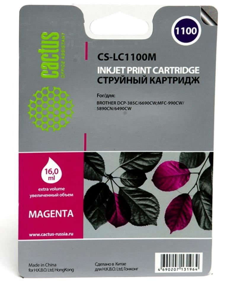 Картридж струйный Cactus CS-LC1100M пурпурный для Brother DCP-385c/6690cw/MFC-990/5890/5895/6490 (16