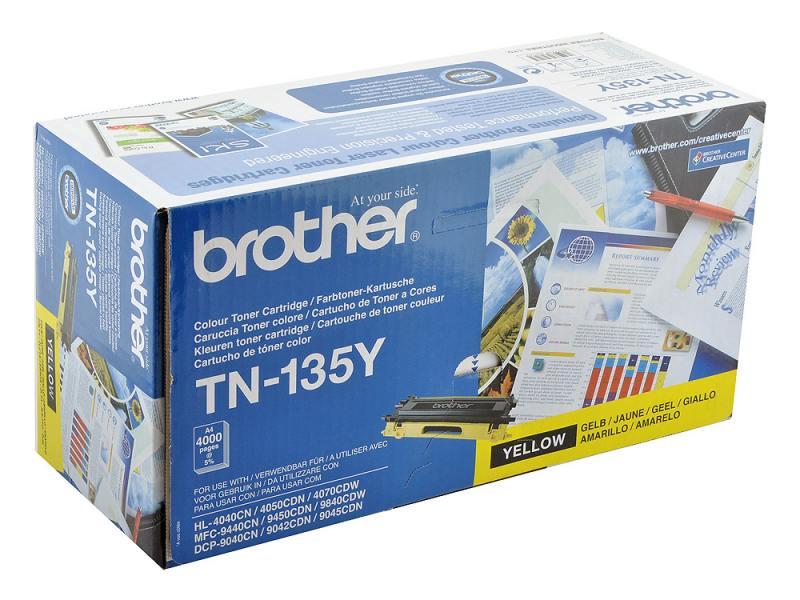 Картридж Brother TN-135Y желтый 4000 стр фотобарабан dr4000 brother dr 4000 до 30000 копий dr 4000