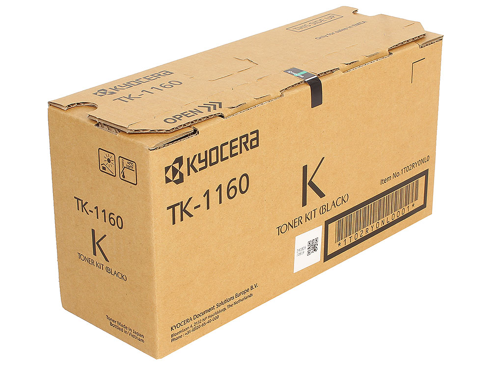 Тонер Kyocera TK-1160 для P2040dn/P2040dw, Чёрный. 7 200 страниц. картридж nv print tk 1160 для kyocera ecosys p2040dn p2040dw черный 7200стр