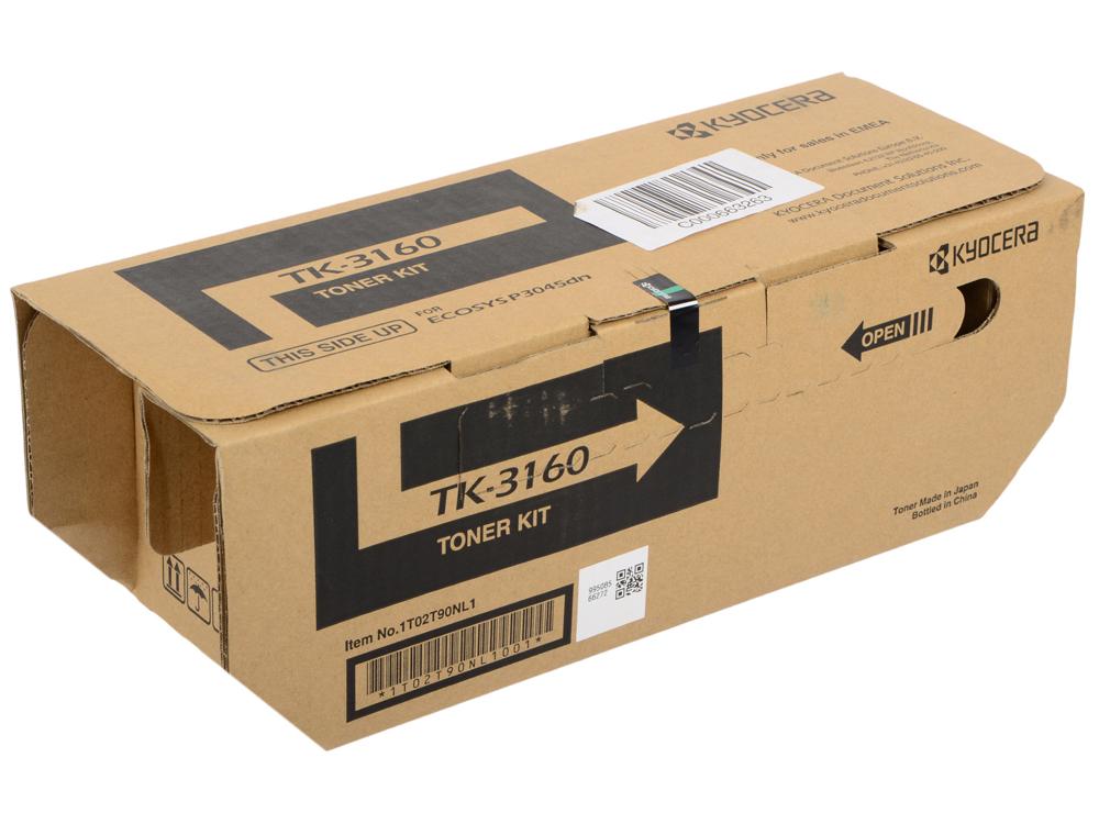 Тонер Kyocera TK-3160 для P3045dn, P3050dn, P3055dn, P3060dn, Чёрный. 12 500 страниц. принтер kyocera p3045dn