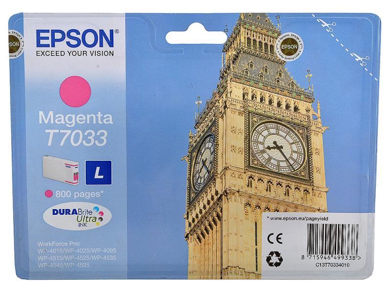 Картридж Epson C13T70334010 L для WP 4000 4500 Series Magenta Пурпурный картридж epson c13t70234010xl для epson wp 4000 4500 series пурпурный 2000стр