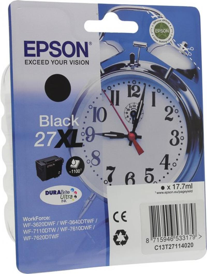 Картридж Epson C13T27114020 для WF-3620/3640/7110/7610/7620 черный ink maintenance box chip resetter t6711 for epson for epson wf 3520 3530 3540 wf 3620 3640 wf 7510 7520 7610 7620 7110 printers