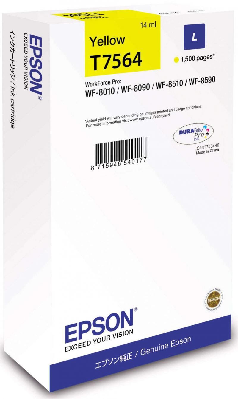 Картридж Epson C13T756440 для Epson WorkForce Pro WF-8090DW WorkForce Pro WF-8590DWF желтый картридж epson t7032 l cyan для workforce pro 4000 4500 c13t70324010