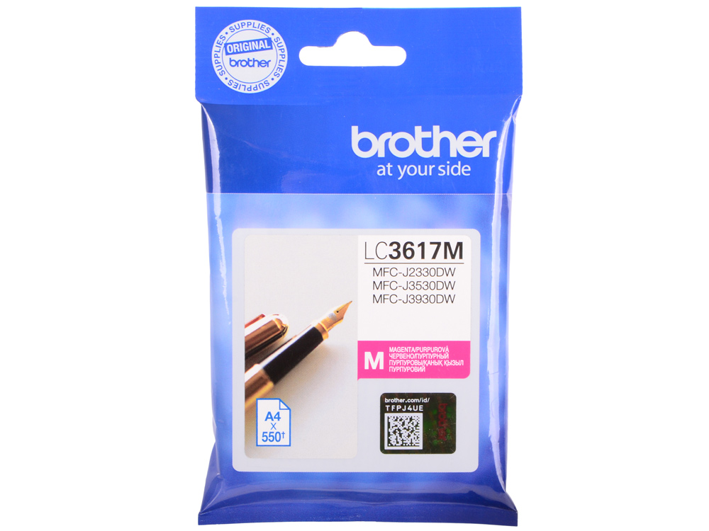 Картридж brother lc3617m пурпурный (magenta) 550стр для brother mfc-j3530dw/j3930dw