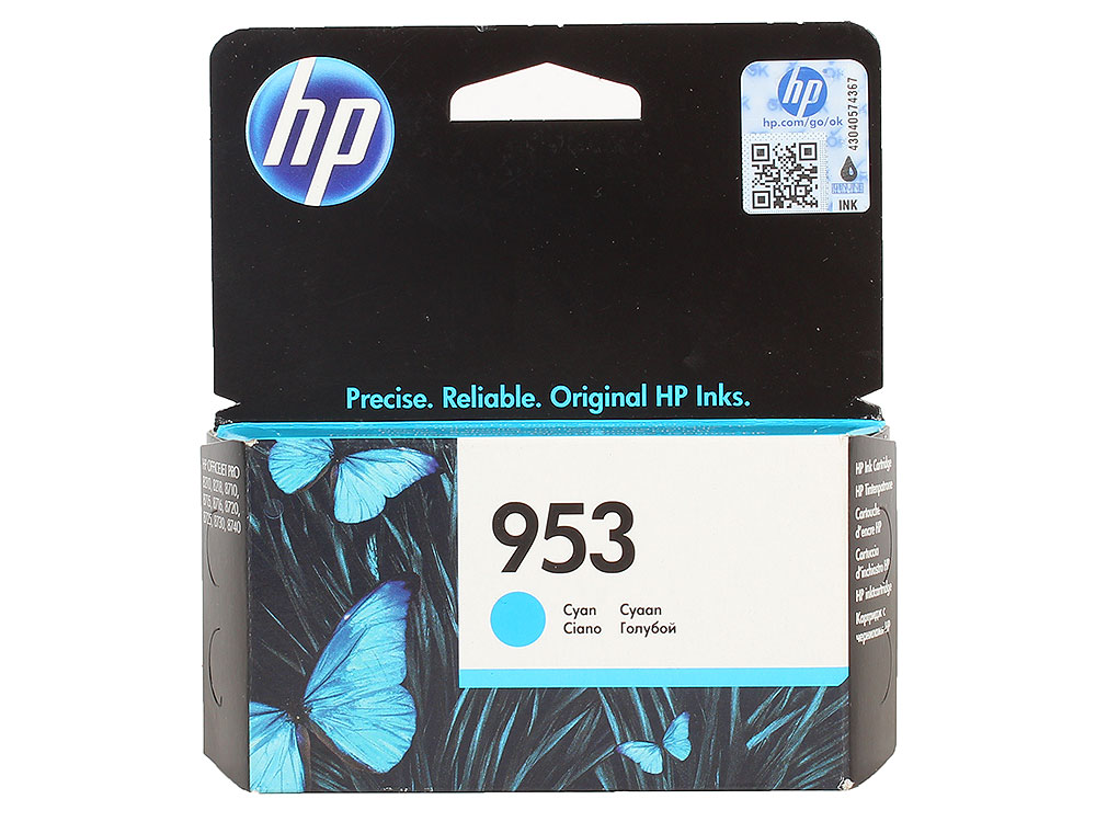Картридж HP F6U12AE №953 для МФУ HP OfficeJet 8710/8715/8720/8725/8730/7740, принтер 8210/8218. Голубой. 700 страниц. картридж hp 953xl l0s70ae для officejet pro 8210 8218 8710 8720 8730 8740 черный