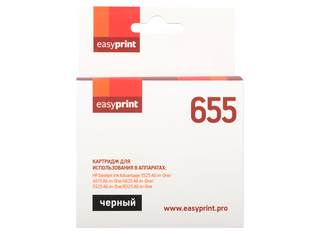 Картридж EasyPrint IH-109 №655 Черный для HP Deskjet Ink Advantage 3525/4615/4625/5525/6525 картридж hp c2p10ae 651 для deskjet ink advantage 5645 5575 чёрный 600 страниц