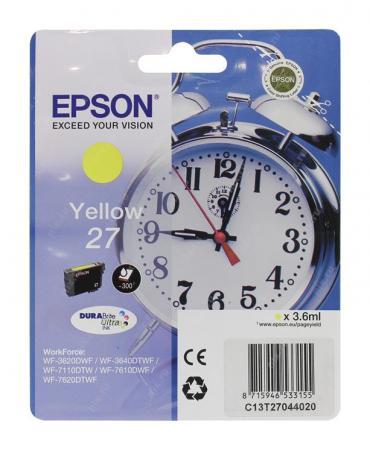 купить Картридж Epson C13T27044020 для Epson WF7110/7610/7620 желтый 350стр по цене 869 рублей
