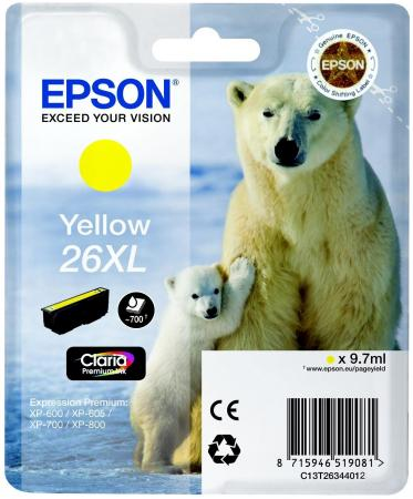Картридж Epson C13T26344012 для Epson XP-600/700/800 желтый картридж epson c13t10534a10