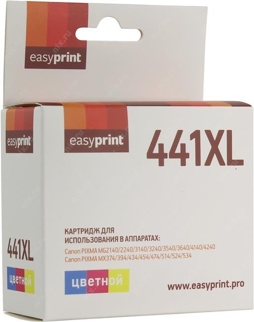 Картридж EasyPrint IC-CL441XL для Canon PIXMA MG2140/2240/3140/3240/3540/3640/4140/4240/MX374/394/434/454/474/514/524/534, цветной картридж easyprint ic cli521y для canon pixma ip4700 mp540 620 980 mx860 желтый 510стр