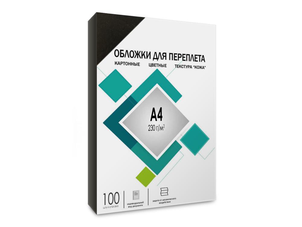 Обложки для переплета картонные ГЕЛЕОС CCA4B А4, тиснение под кожу черные 100 шт. обложки для переплета прозрачные пластиковые гелеос а4 0 2 мм синие 100 шт