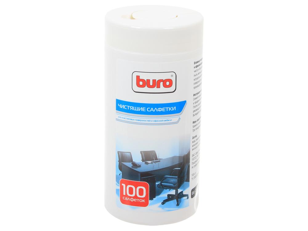 Салфетки Buro BU-Tsurl для пластиковых поверхностей и офисной мебели, туба 100шт чистящие салфетки buro bu udry сухие безворсовые 20шт