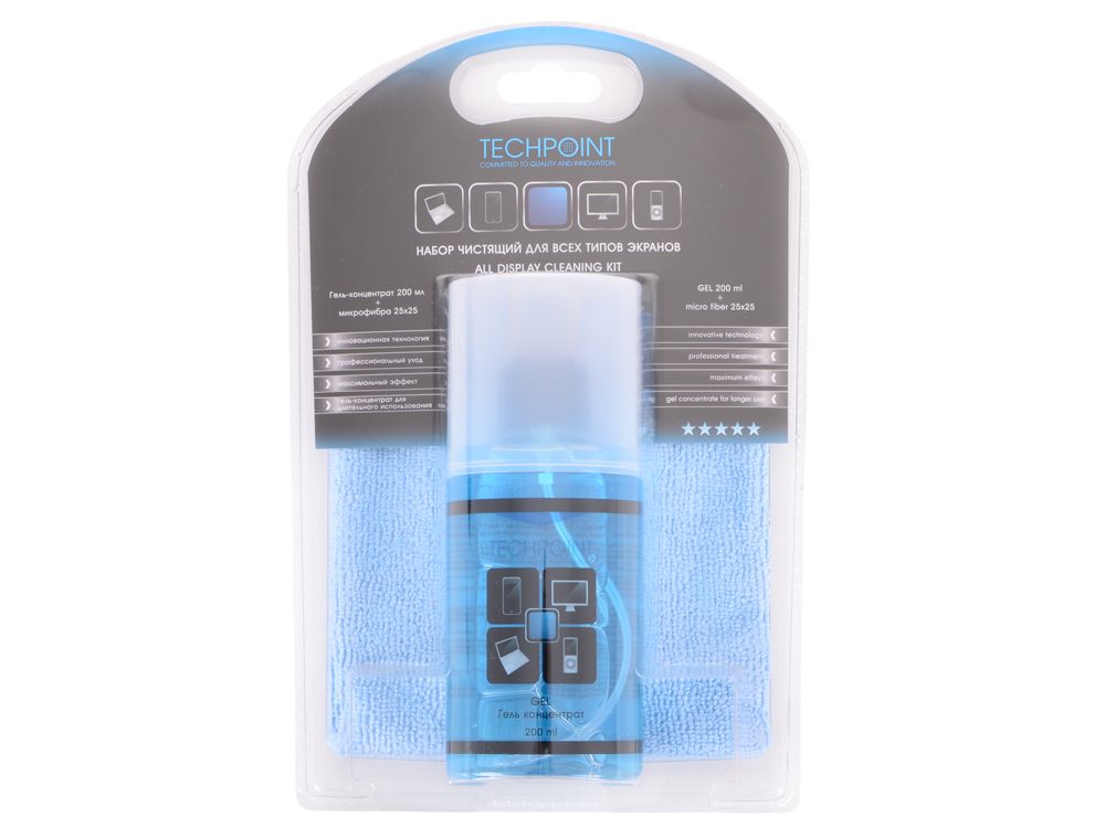 Набор для ухода за всеми типами экранов. Гель 200мл.+премиум-микрофибра. TechPoint 7777 All Display Cleaning Kit цена 2017