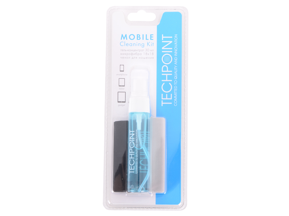 Набор для ухода за смартфонами и планшетами (для сенсорных экранов). Гель 30мл.+микрофибра+чехол. TechPoint 1004 On-The-Go Cleaning Kit