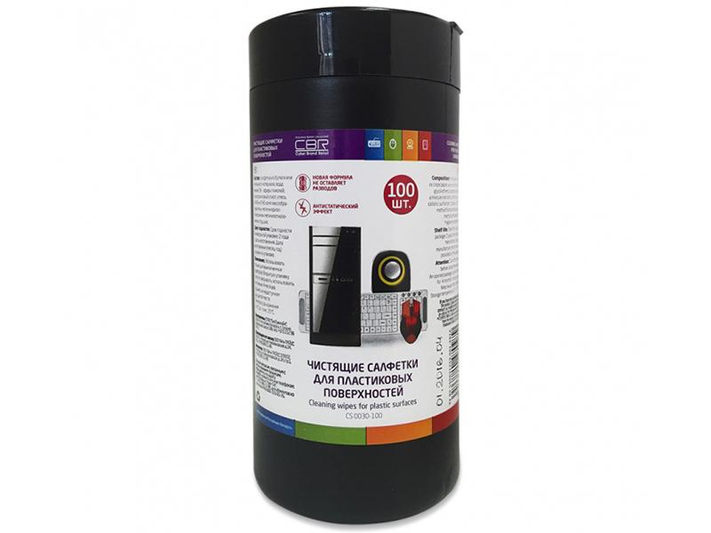 Чистящие салфетки для пластиковых поверхностей CBR CS 0030-100, 100 шт., туба, CS 0030-100