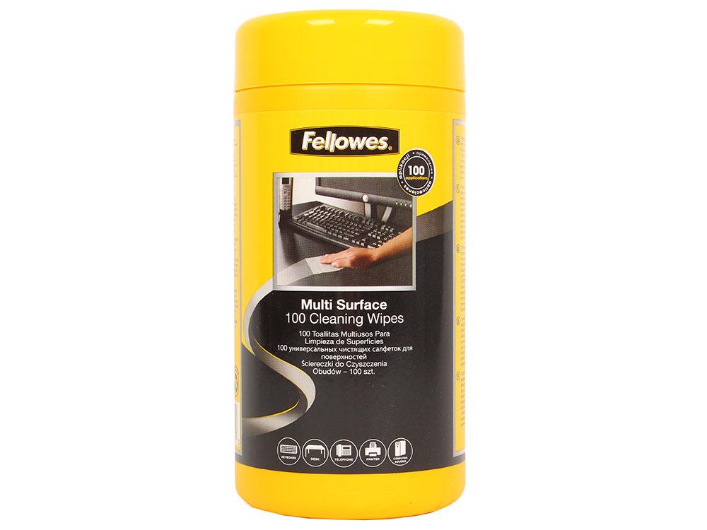 Салфетки Fellowes чистящие для поверхностей в тубе, 100 шт чистящие салфетки defender cln30322 для всех видов поверхностей в тубе 100шт