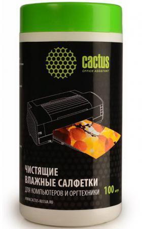 Чистящие салфетки Cactus CS-T1002 для компьютеров и оргтехники туба 100шт