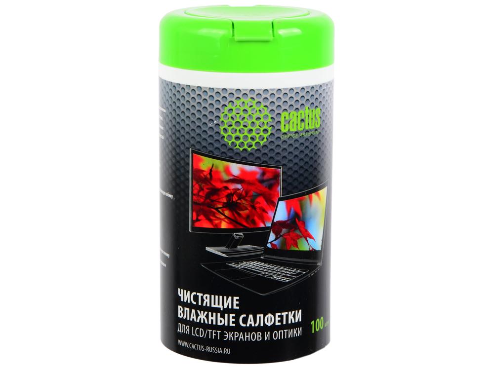 Чистящие салфетки Cactus CS-T1001 для экранов и оптики туба 100шт