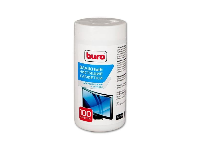 Влажные салфетки BURO BU-TSCRL 100 шт 98235 салфетки чистящие для экранов buro bu tscrl
