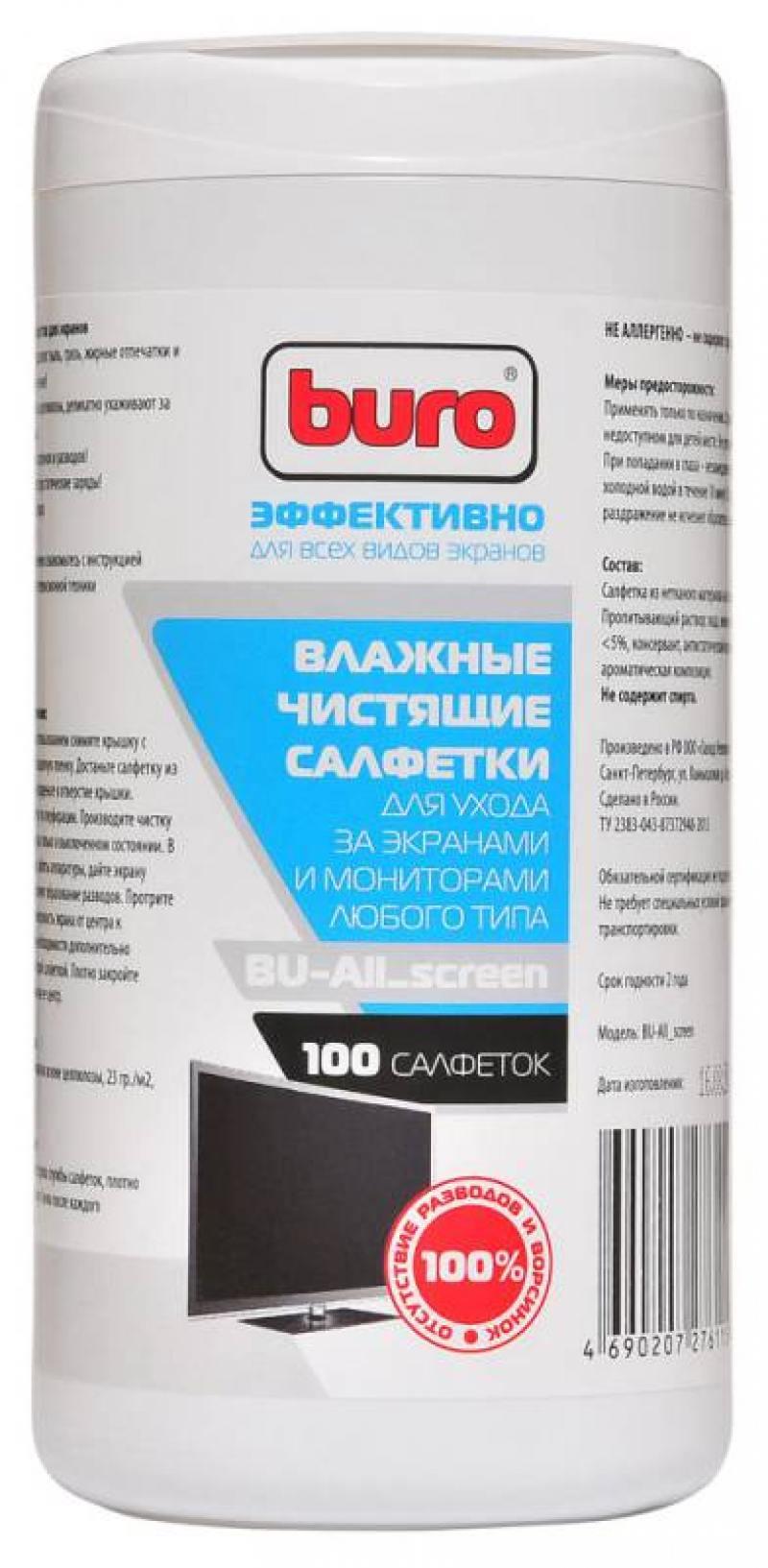 Влажные салфетки BURO BU-All_screen 100 шт