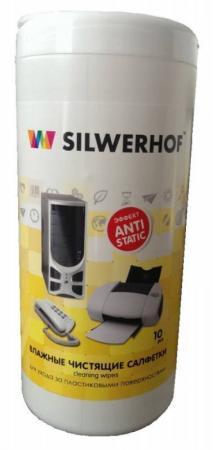 Чистящие салфетки влажные Silwerhof Plastic Clean для пласт.поверхностей компьютера/оргтехники чистящие салфетки влажные silwerhof notebook clean для ноутбуков планшетов 671203