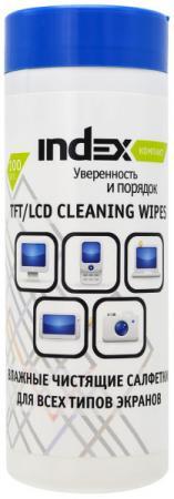 все цены на Салфетки влажные чистящие INDEX Компакт, для мониторов, 100шт, экономичная упаковка ICCW01100G/R онлайн
