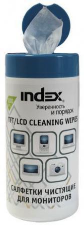 все цены на Салфетки влажные чистящие INDEX для мониторов, 100 шт. ICCW02100G онлайн