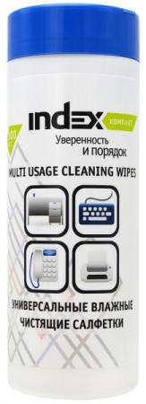 все цены на Салфетки влажные чистящие INDEX Компакт, для пластика, 100шт, экономичная упаковка ICCW01100M/R онлайн