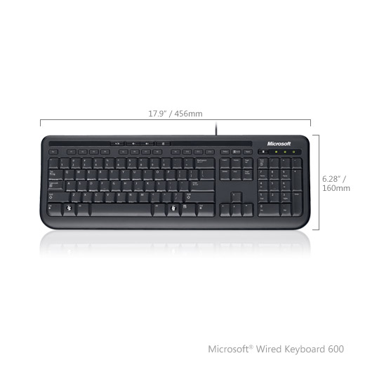 Фото - (ANB-00018) Клавиатура Microsoft Wired 600 Keyboard USB Black Retail клавиатура microsoft all in one media keyboard черный n9z 00018 беспроводная 2 4ghz тонкая multimedia touch