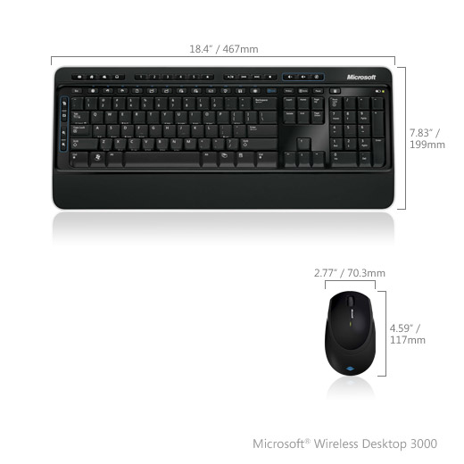 (MFC-00019) Клавиатура+мышь Microsoft Wireless Desktop 3000 USB BlueTrack Black Retail от OLDI
