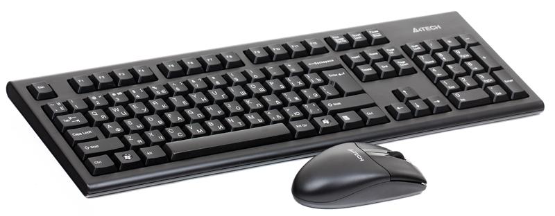 Клавиатура+мышь A4Tech W 3100N, USB (черный), 2.4G обтекаемая форма клавиш