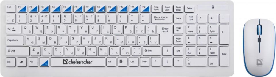 Клавиатура+ мышь Defender Skyline 895 Nano W(Белый) Кл:104, 1000/1500/2000dpi комплект клавиатура мышь defender berkeley c 925 nano black usb 45925