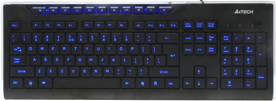цена на Клавиатура A4Tech KD-800L USB B(Черный) Кн:115+11 Подсветка