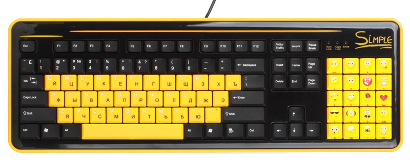 Клавиатура CBR Simple S8 USB Black 86+20 доп. кл., смайлы на цифровом блоке