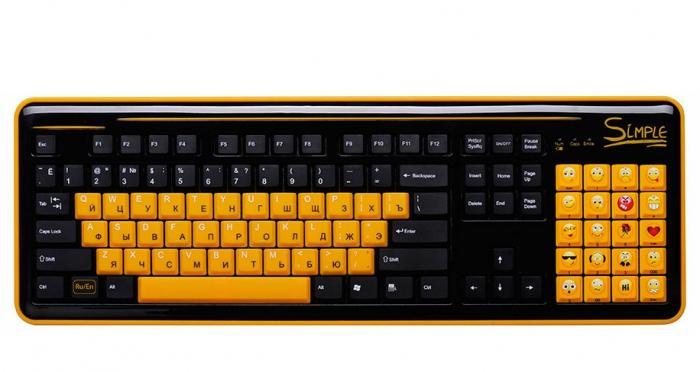 Клавиатура CBR Simple S18 USB Black 86+20 доп. кл.(смайлы на цифровом блоке), переключение языка 1 кнопкой,
