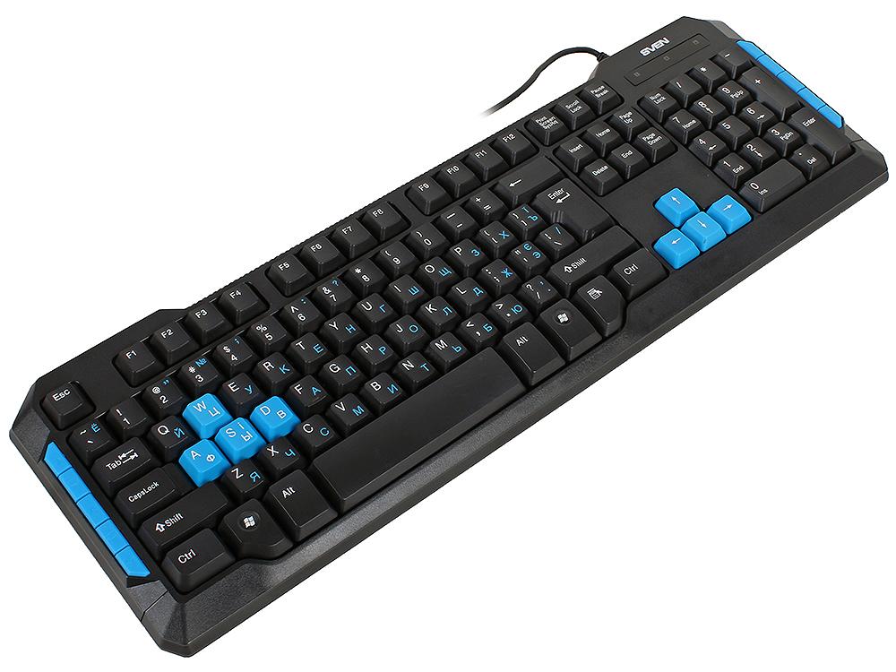 Клавиатура игровая SVEN Challenge 9500, чёрная, 104+10 клавиш, 8 дополнительных сменных клавиш геймпад sven x pad sv 063007 провод 14 клавиш d pad 8 позиц 2 мини джой резиновые вставки