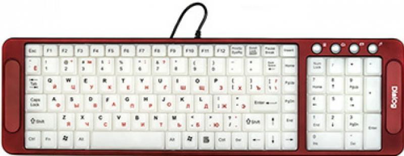 Клавиатура проводная Dialog KK-L04U USB белый красный