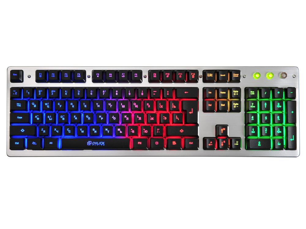 Клавиатура Oklick 770G серый/черный USB LED