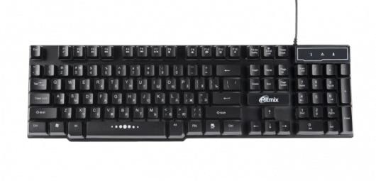 Клавиатура Ritmix RKB-200BL Black USB проводная, 104 клавиши + 12 клавиатура asus strix tactic pro cherry mx black black usb 90yh0081 b2ra00