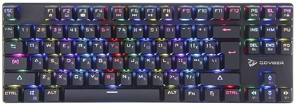 Клавиатура механическая игровая QCYBER DOMINATOR TKL(QC-03-008DV01), короткая, свитчи RED, RGB подсветка, тканевый провод, подключение USB клавиатура qcyber dominator tkl black usb gamer rgb